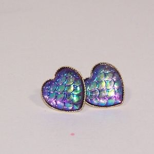 Heart shaped mermaid scale faux druzy earrings